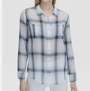 Calvin Klein Womens Plaid Crinkle Button Up Shirt,